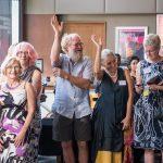 Mieke den Otter during speeches – Ipswich Artist hands up